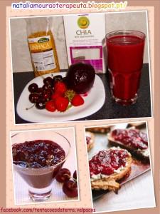 Lanche Saudável - Batido de frutos vermelhos com sementes de chia e linhaça, acompanhado por uma torrada de pão integral com queijo de cabra e compota de cereja